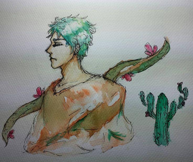 """""""サボテンさん🌵"""" (Mr. Cactus🌵) #watercolour #cactus #oc #vangoghwatercolor"""