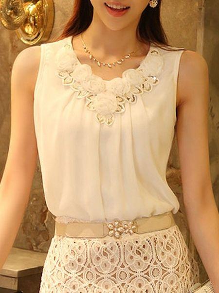 Ladylike Chiffon Solid Pure Sleeveless-t-shirt sleeveless T-shirts from fashionmia.com