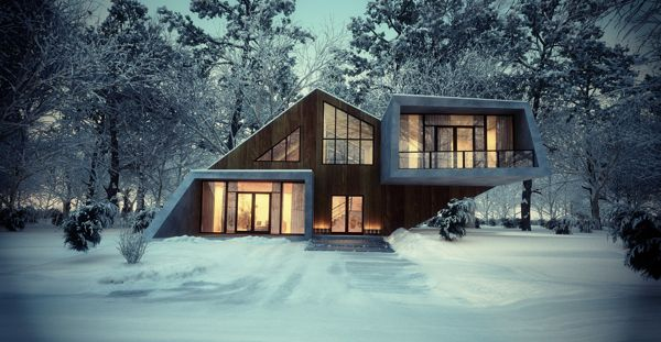 single family house by leqso tsiskarishvili, via Behance