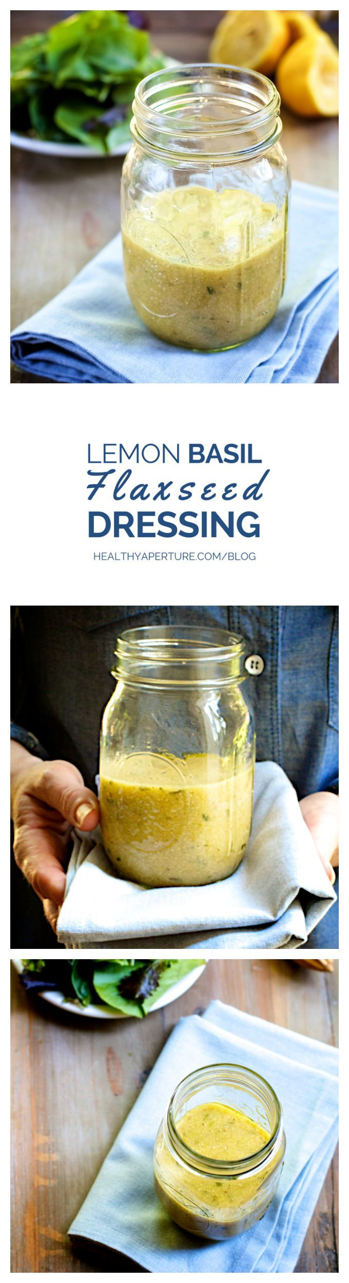 Use nutritional superfood flaxseeds in this quick and easy salad dressing recipe. Combine fresh lemon and basil with ground golden flax to create a thick and hearty dressing without added fat and calories. Recipe by @ReganJonesRD on HealthyAperture.com.