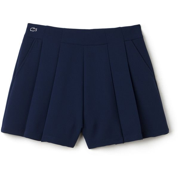 Blue Women's Lacoste Live Cotton Crepe Pleated Shorts (€93) ❤ liked on Polyvore featuring shorts, pant, pleated shorts, cotton shorts, blue shorts and blue cotton shorts