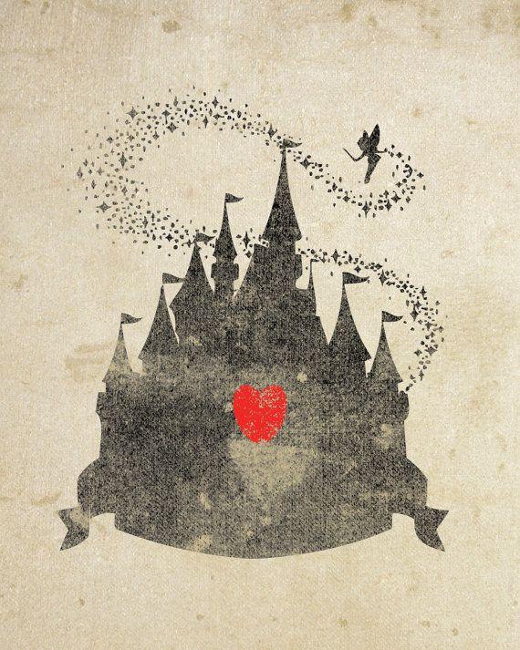 Disney Castle Inspired Silhouette: 8X10 Art Print, With Heart Studios - Gift, Nursery, Vintage, Poster