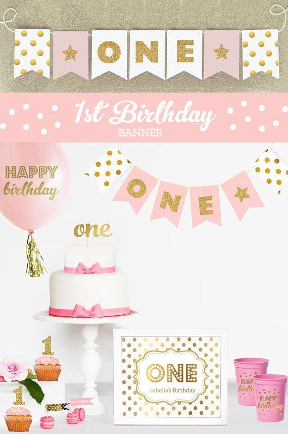 First Birthday Photo Banner - 1st Birthday Picture Banner - Girls First Birthday Photo Props - 1st Birthday Glitter Party Banner By Mod Party