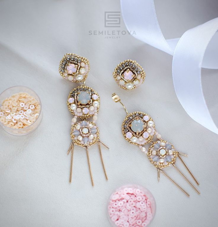 Earrings with crystals Svarovski,pearls,gold plated elements,japanese beads