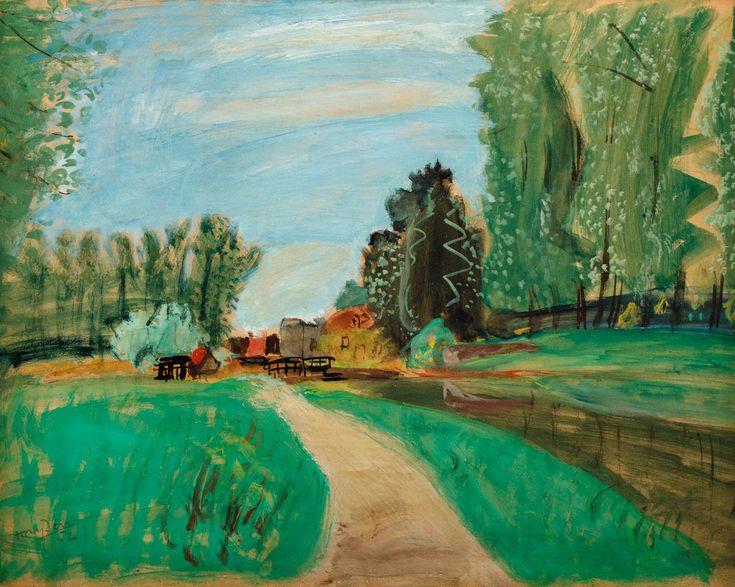 HENRYK HAYDEN (1883 - 1970)  WIEJSKA DRÓŻKA, 1952   gwasz, płótno / 32 x 40 cm w świetle ramy