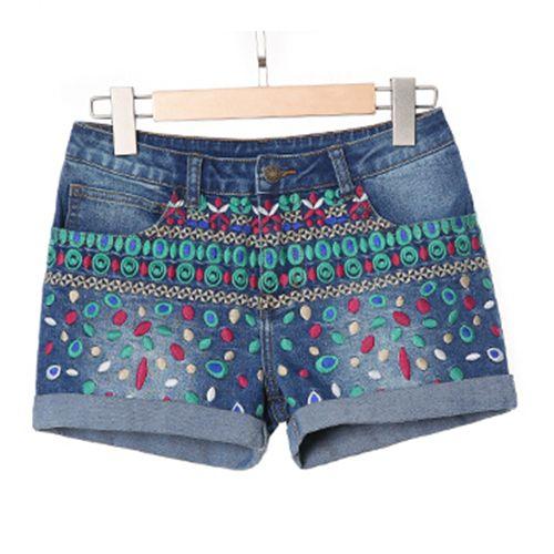 Barato 2016 Shorts moda feminina bordado Floral senhoras Short Jeans Feminino Mini Shorts marca senhoras Shorts Jeans, Compro Qualidade Shorts diretamente de fornecedores da China:   [Xlmodel]-[Custom]-[32330]   Informações de tamanho                   Estilo do produto: bermuda mulheres