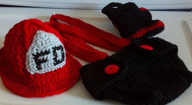 Fireman Hat, diaper cover, suspenders and boots crochet Pattern, Newborn to 12 months by ExpertCraftss on Etsy https://www.etsy.com/listing/105396031/fireman-hat-diaper-cover-suspenders-and