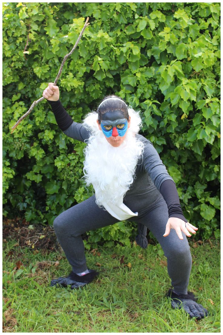 Rafiki from The Lion King Costume. Get more #costume and #Halloween inspiration on this blog! Over 400 homemade, DIY costume ideas!