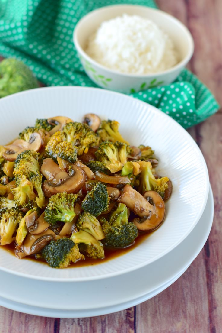 Broccoli mushroom oyster sauce
