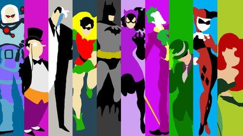 Mr.Freeze, The penguin, Harvey two face, Robin, Batman, Catwoman, The Joker, The Riddler, Harley Quinn, Poison Ivy