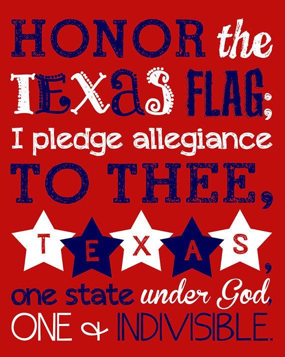 Texas Pledge to the Flag. Pledge of Allegiance. Texas
