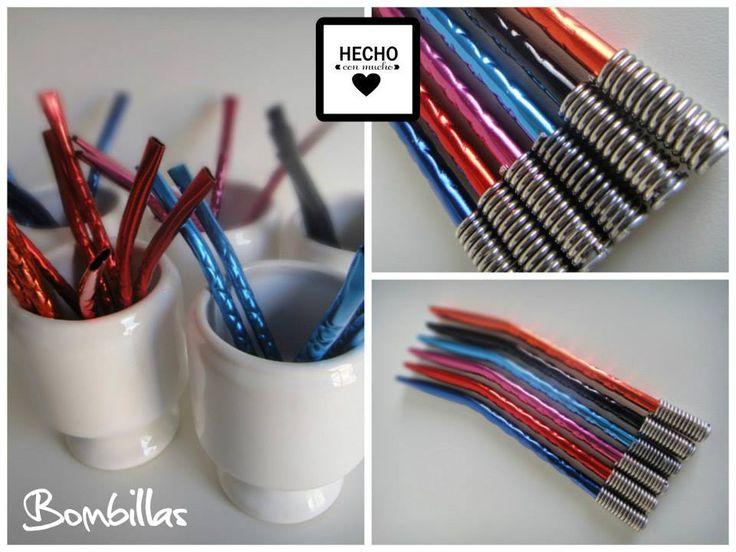 :: Bombillas Anodizadas Niqueladas :: Base de resorte Largo 15,5 cm Colores: Fucsia, Rojo, Naranja, Azul, Turquesa y Negro