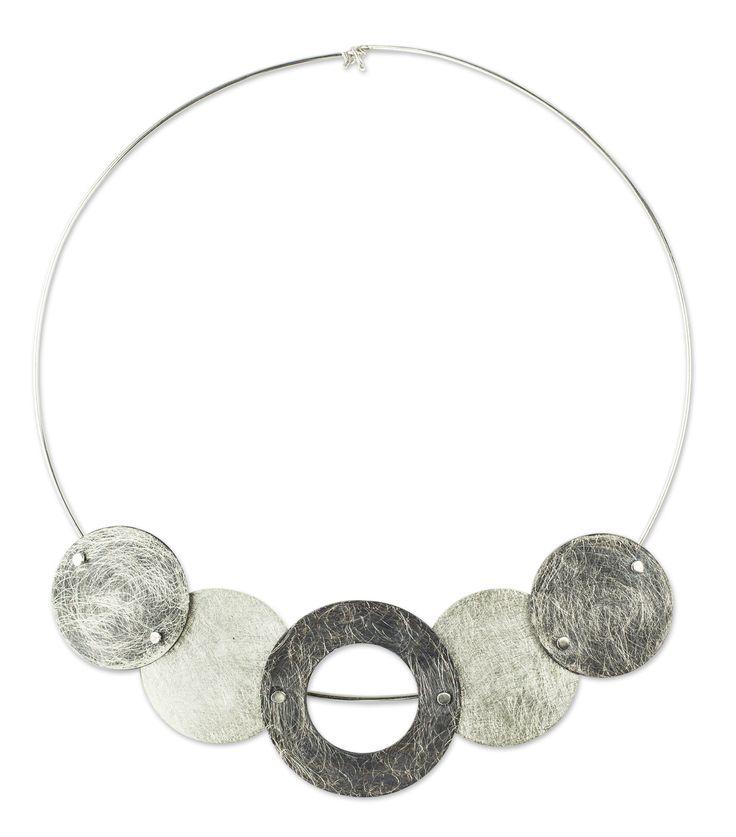 Unique Sterling Silver Choker Necklace - Eclipses | NOVICA