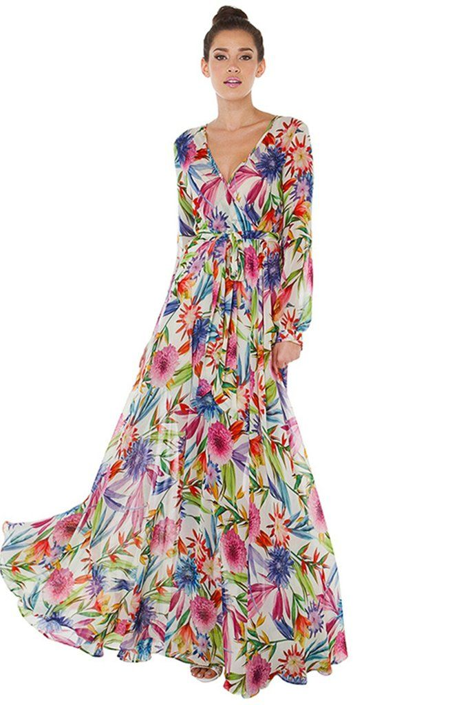 091c45320d B| Multicolor Floral Print Wrap Tie Waist Maxi Dress | Women's ...