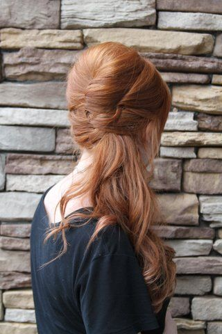 Half-up hair, could be worn to the side or altered to be centered.