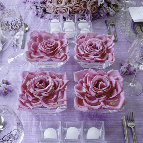 Preston Bailey roses square centerpiece