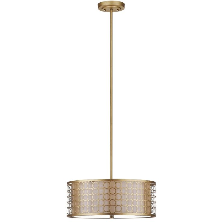 A distinctive marriage of a cream fabric shade with geometric-patterned laser cut steel in antique gold finish, the Giotta drum pendant light showcases the glamorous shade-within-a-shade trend.