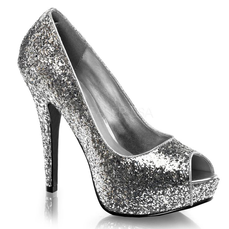 FABULICIOUS TWINKLE-18G Silver Glitter Peep Toe Pumps