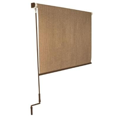 Coolaroo Walnut Cordless Exterior Roller Shade 120 In W X 96 In L Home The O 39 Jays And