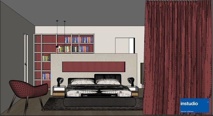 spaziosa camera padronale in cui trova spazio una zona toilette separata dal letto mediante setto divisorio effetto cemento. progetto realizzato da www.instudio-design.com
