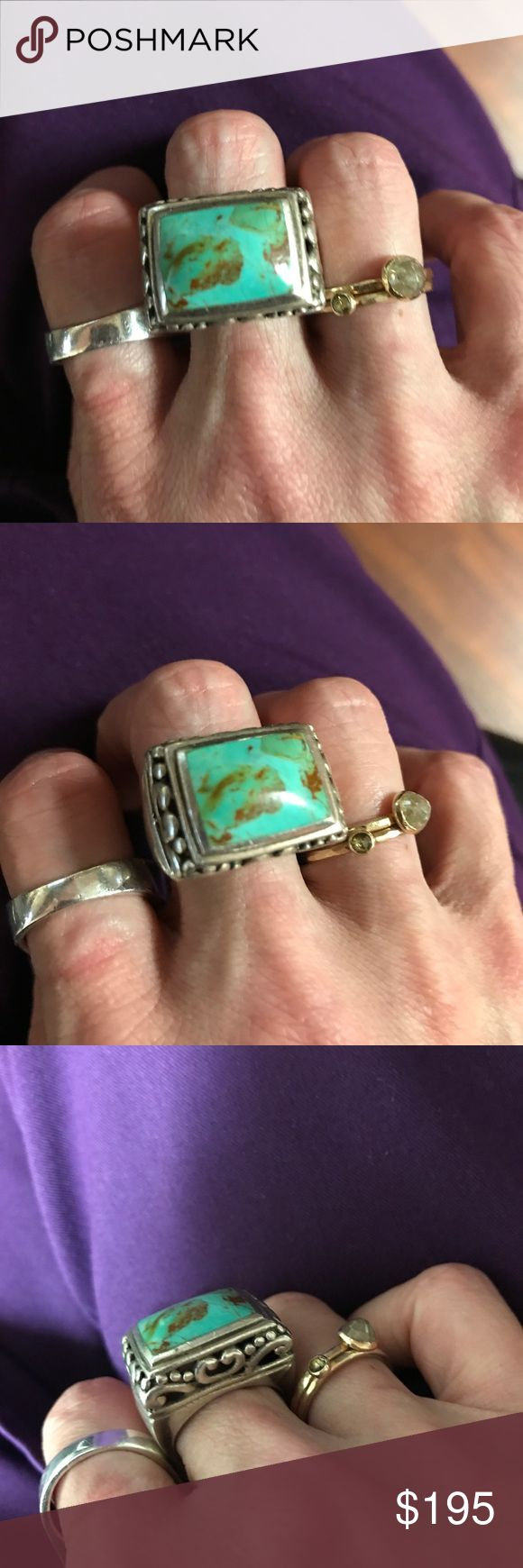 Huge Royston Turquoise Native American Silver Ring Huge Royston Turquoise Native American Silver Ring. Big and beefy. One of the largest pieces of royston I have seen in a ring. Lots of silver with nice scrollwork on the sides. Sadly, this doesn't fit me because my fingers are too small. Size 8. Great for a man's pinky ring! Accessories Jewelry
