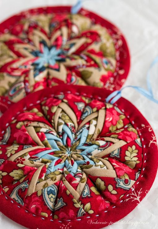 fabric covered christmas ornaments make with pine