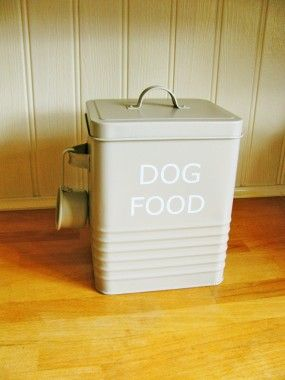 Vintage Style Grey Enamel Dog Food Tin