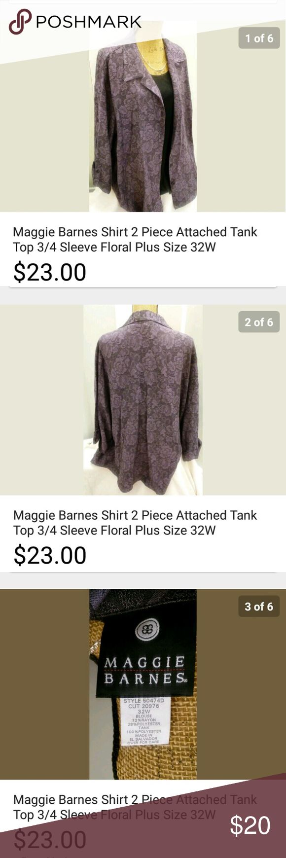 """Maggie Barnes One Piece Shirt Blazer Plus 32W Maggie Barnes? Purple One piece? Floral? Shirt blazer attached? Button closures? 3/4 sleeve? Floral? Vented cuffs? Plus Size 32W? From smoke FREE pet FREE HOME?  Approx. Measurements: taken laying flat?  Armpit to armpit ~ 32?? Sleeves ~ 3/4""""? Length ~ 32??  Material~72% Rayon 28%polyester? Maggie Barnes Jackets & Coats Blazers"""
