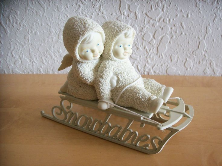 """Dept. 56 1997 Snowbabies """"Two Little Babies on the Go"""" Figurine"""