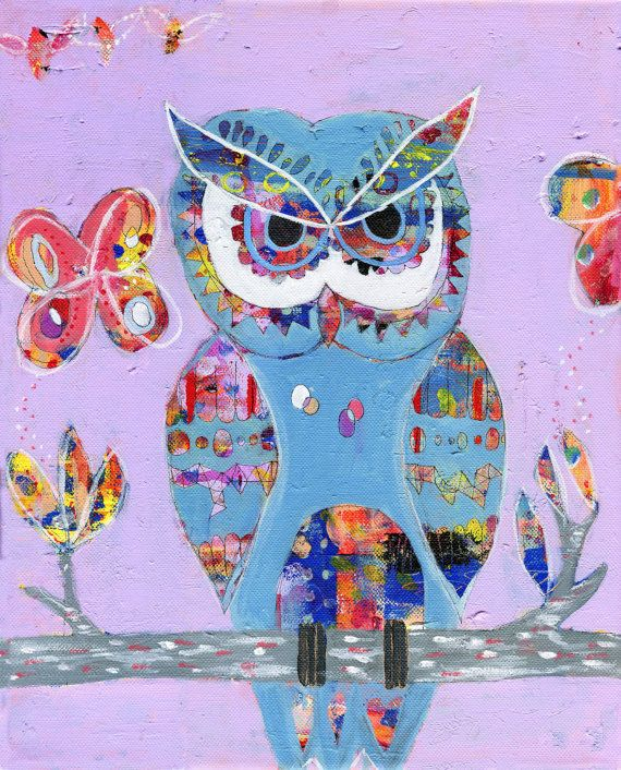 Owl Art Print of Original Painting by coocoovaya