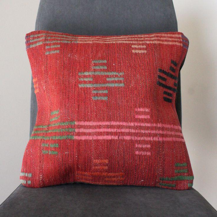Red Anatolian Vintage Kilim Cushion