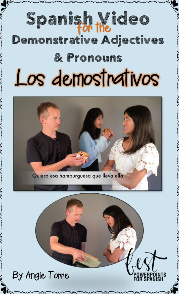 Spanish Video Los demostrativos: What's better comprehensible input than conversation with a native speaker? Videos of native speakers with Spanish subtitles and realia to aid in comprehension, with music and  activities for repetition of vocabulary and concepts. Manuel tries to interest Ana in certain objects and Ana is always interested in what other people have.  Ana uses the demonstrative adjectives and pronouns multiple times in context. Script, activities, quiz included