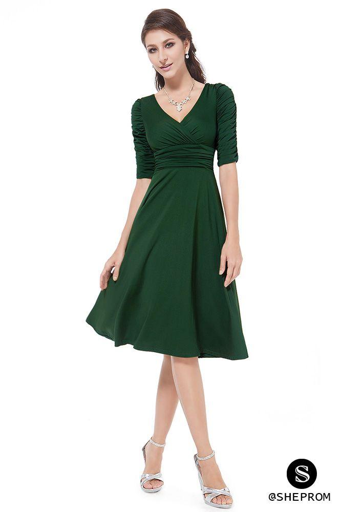 Dark Green Dress Casual