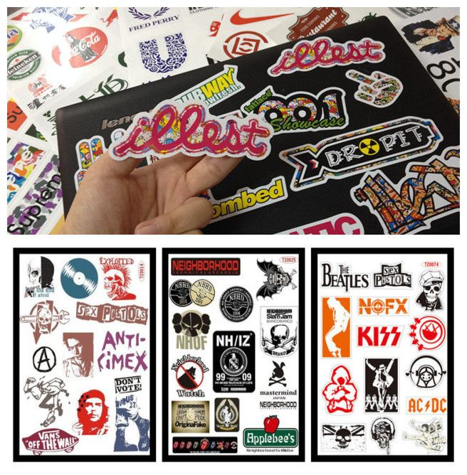 *item chose*3 SHEETS=36pcs/lot PVC Car stickers 5 12cm PUNK Rock Stickers For Ipad Laptop skins Tablet Motorcycle Car Stickers-in Decals & Stickers from Automobiles & Motorcycles on Aliexpress.com | Alibaba Group
