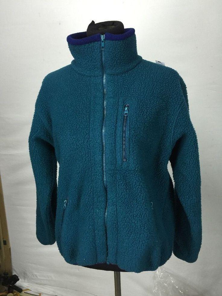 53* Vintage LL Bean women's Medium Large Teal Green Zip up fleece #LLBean #FleeceJacket