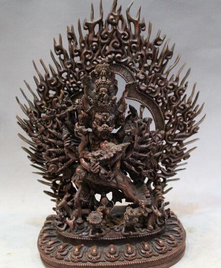 Оптовая продажа фабрики Китайский Бронзовый Тибетский Буддизм Яма Dharmaraja Ямантака Яб-Юм Статуя Будды