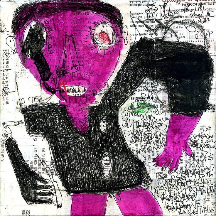 """autolesione"" mixed media on canvas 20x20cm | 2014"