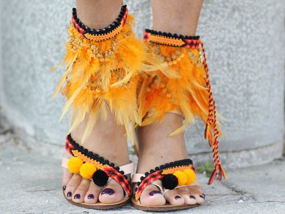 SALE 50% OFF Feather 'Dragon Flame' sandals