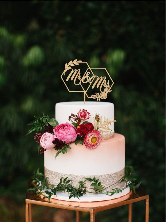 Geometric wedding cake topper, Hexagon mr mrs wedding topper, Floral ...