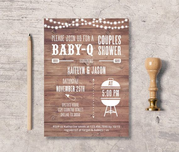 49 best baby mineburg's rustic bbq shower images on pinterest, Baby shower invitations