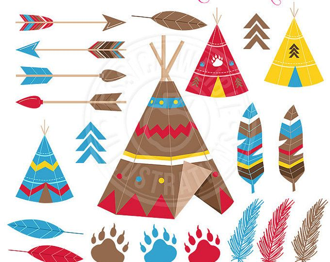 Tribal Cute Clipart, TeePee Graphics, Tribal Clip Art, Brown TeePee, Feathers, Arrows, Tribal Scrapbooking Images, Boy Tribal Graphics