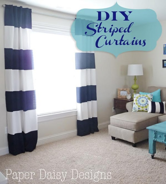Paper daisy designs diy wide stripe curtains that diy for Paper curtains diy