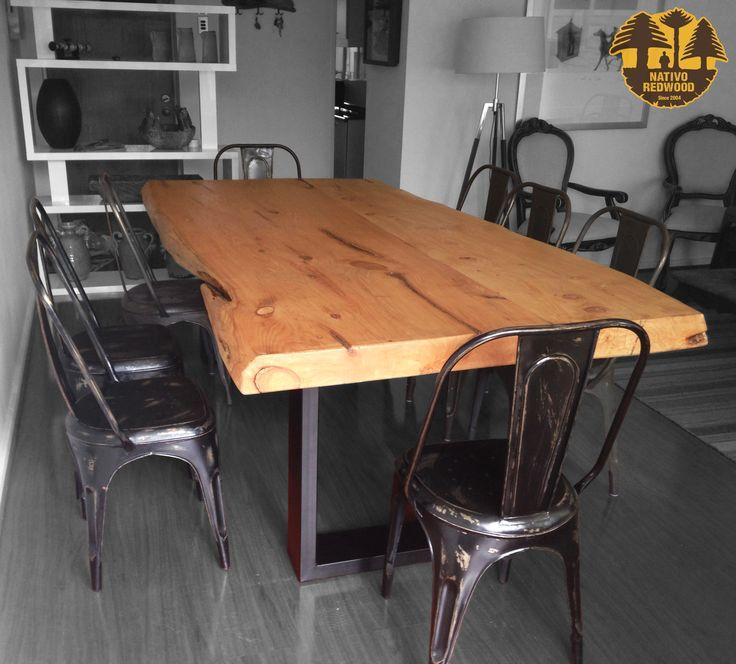 Nativo red wood. mesa comedor con cubierta de madera de cipres ...