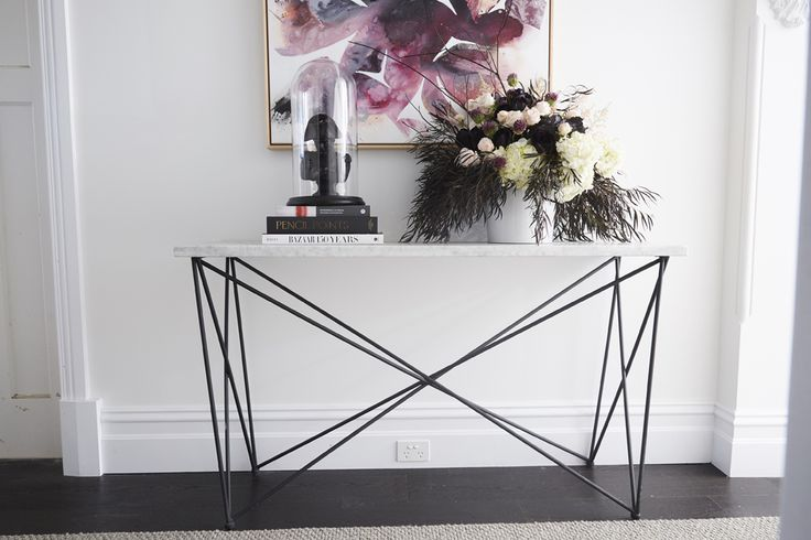 Elle Criss Cross Marble Console by Globe West as seen in Georgia & Ronnie's Hallway in The Block 2017.