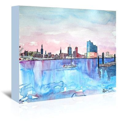 Americanflat Hamburg Harbour City Elbphilharmonie' by M Bleichner Original Painting on Wrapped Canvas Size: