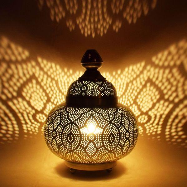Orientalische Tischlampe Kayla Silberfarbig Orientalische Stehleuchten Stehlampen Aus M Marokkanische Tischlampe Nachttischlampe Modern Kleine Tischlampe