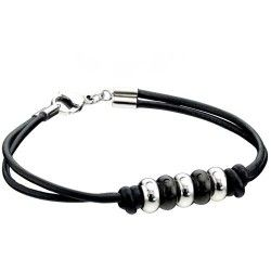 Fred Bennett Knotted Leather Steel Bracelet #Costume #Jewellery