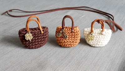 Firefly Crochet mini bags ✤ key fob, lucky charm // cappuccino colors