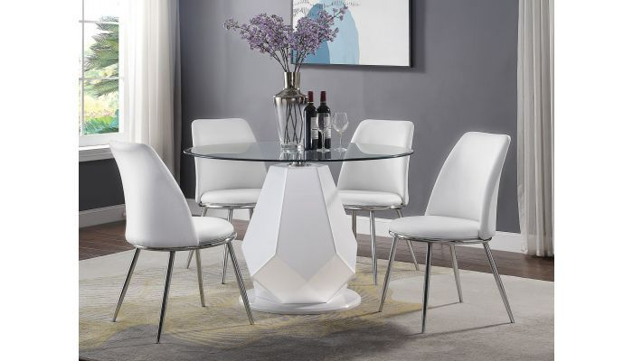 Tyra Round Top Modern Dining Table Set Modern Dining Table Set