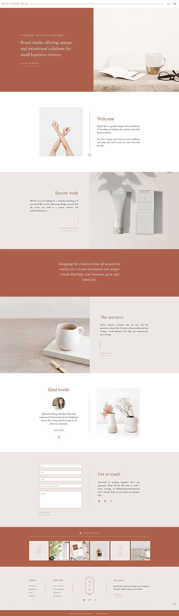 Studio Mer Website Design Graphic Design Web Design Shout Web Design Custom Website Brandin Unique Logo Design Minimal Web Design Feminine Website Design